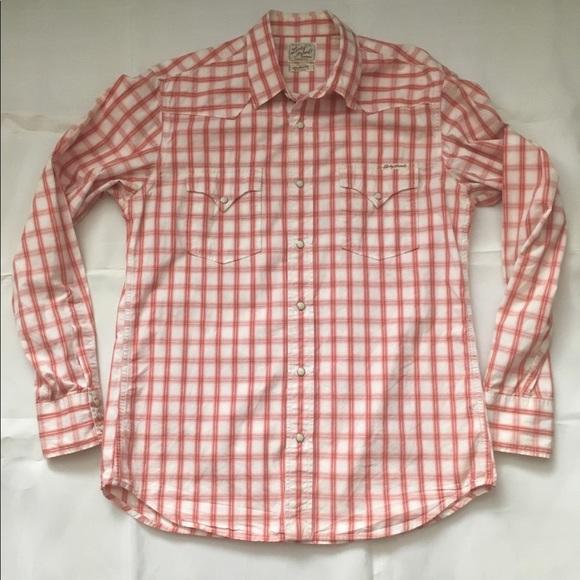 Lucky Brand Men's M Pearl Snap Plaid Shirt